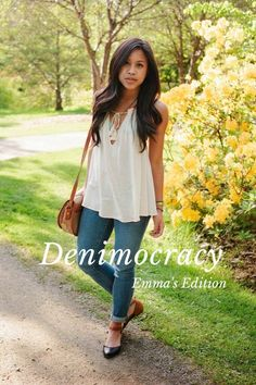Denimocracy Emma's Edition In honor of #NYFW, I'm sharing my #stellerstyle with the #stellerverse. In this #stellerstory, it's all about the staple blue jeans. Everyone should have a favorite, go-to pair of blue jeans. Dress them up or