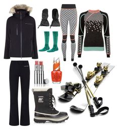 """Ski Italy"" by elle-hale on Polyvore featuring Sweaty Betty, SOREL, Perfect Moment, Harrods, KJUS, Spyder, Smartwool, Chantecaille and OPI"
