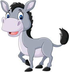 Illustration about Illustration of Cute baby donkey on white background. Illustration of mascot, creature, character - 61163471 Cute Cartoon Animals, Cartoon Pics, Cartoon Art, Cute Animals, Zebras, Cute Images, Cute Pictures, Baby Donkey, Donkey Donkey