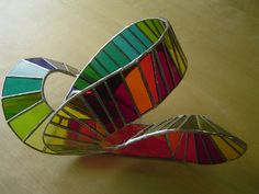 """3D STAINED GLASS SCULPTURE - """"Roller Coaster"""" -  width 29cm, depth 18cm & height 17cm (11.5 x 7 x 6.5 inches)"""
