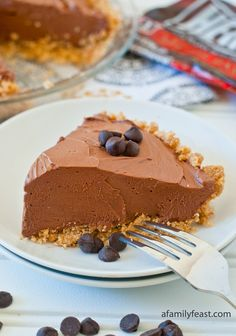 No-Bake Chocolate Cheesecake Pie - a quick and delicious dessert made with Hershey's Chocolate Chips!