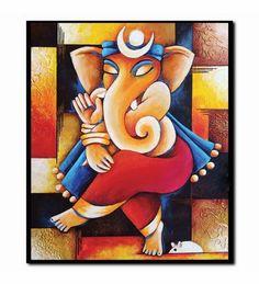 Ganesha on 4 canvases Ganesha Drawing, Lord Ganesha Paintings, Ganesha Art, Krishna Painting, Krishna Art, Ganesh Rangoli, Sri Ganesh, Painting Wallpaper, Painting Art