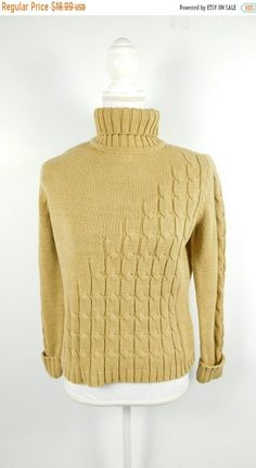 3b999f92326030 Vintage Liz Claiborne Tan Gold Metallic Cable Knit Holiday Long Sleeve Roll  Down Turtleneck Sweater Sz Small Petite