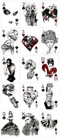 O trabalho de maior destaque dessa ilustradora com certeza é o jogo de cartas, nas quais ela utiliza mulheres para representar cada uma das cartas.