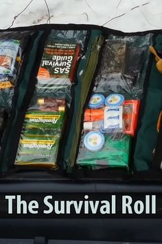 """Canadian Prepper came up with something he calls the """"survival roll."""" Instead of digging through your bug out bag, you can just unroll this canvas bag. Urban Survival, Wilderness Survival, Camping Survival, Outdoor Survival, Survival Knife, Survival Prepping, Survival Gear, Survival Skills, Survival Stuff"""