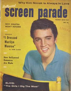 "Elvis Presley on the cover of ""Hollywood Screen Parade"", USA, January 1958."
