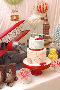 Oh, the places you'll Go with this fabulous vintage airplane birthday party! The birthday cake is incredible!! See more party ideas and share yours at CatchMyParty.com
