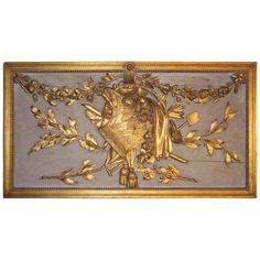 A French or Italian Louis XVI style overdoor carved boiserie panel Decoration Baroque, Tuscan Art, French Country Style, Country Chic, World Decor, Wall Art Decor, Wall Decorations, Contemporary Wall Art, Grey And Gold