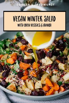 Winter Salad with quinoa and oven veggies. #healthy #recipe #easyrecipes