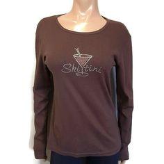 Mountain Chalet Vintage Collection Skitini Top Womens Large Brown Rhinestone Ski #MountainChalet #Basic #Casual Ski, Mountain, Blouses, Sweatshirts, Brown, Long Sleeve, Casual, Sleeves, Sweaters