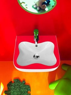 Extraordinary Bathrooms for Children by Laufen : Extraordinary Bathrooms For Children By Laufen With Red Wall Wastafel Mirror Orange Floor A. Health Guru, Health Trends, Bathroom Kids, Bathroom Colors, Colorful Bathroom, Bathroom Modern, Laufen Bathroom, Red Walls, Bathroom Furniture