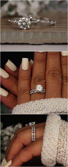 Wedding Ring Set Moissanite 14k White Gold Engagement Ring Round 8mm Moissanite Ring Diamond Milgrain Band Solitaire Ring #weddingrings