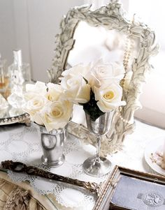 vintage silver & white roses
