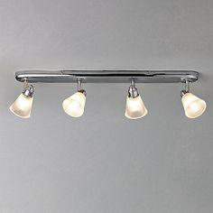 Buy John Lewis Lucca 4 Bathroom Spotlight Ceiling Bar from our Ceiling Lighting range at John Lewis & Partners. Bathroom Spotlights, Bathroom Ceiling Light, Bathroom Lighting, Ceiling Lights, Other Rooms, Lucca, Chrome Finish, Glass Shades, John Lewis