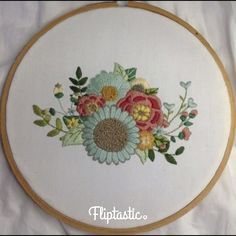 Sun-Kissed Blooms Bouquet Hand Embroidery Pattern - Source by - Hand Embroidery Patterns Free, Embroidery Hearts, Hand Embroidery Videos, Embroidery Flowers Pattern, Hand Embroidery Stitches, Crewel Embroidery, Modern Embroidery, Vintage Embroidery, Embroidery Kits