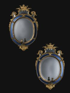 A pair of Swedish oval gilded lead girandole mirrors urchard Precht of Bremen ( 1651-1738) was a sculptor and cabinet-maker who was educated in Hamburg by his brother Christian Precht (1666-1774), set up his workshop in Sweden where he had arrived as early as 1674 in order to participate in the work being undertaken at Drottningholm Castle and in 1682, he was named carver to the court.. At Drottingholm palace he created the Royal Bedchamber where a pair of mirrors by him closely resemble the…