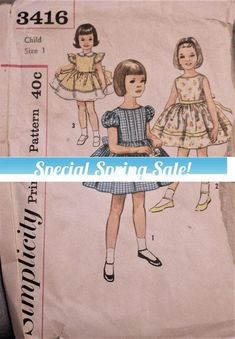 Vintage 1950s Simplicity Sewing pattern #3416; #supplies @EtsyMktgTool #vintagepattern #50'spattern #50ssimplicity #twirlyskirt