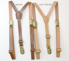 Vintage Style SUSPENDERS / Faux Leather Brown by BowTieLoveINC