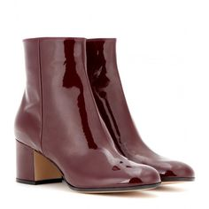 Gianvito Rossi Patent Leather Ankle Boots ($645) ❤ liked on Polyvore featuring shoes, boots, ankle booties, red, gianvito rossi booties, patent boots, red patent leather boots, red ankle booties and bootie boots