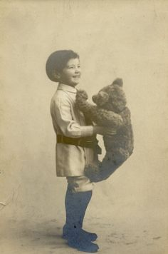 Steiff teddy bear with his original owner, 1908.