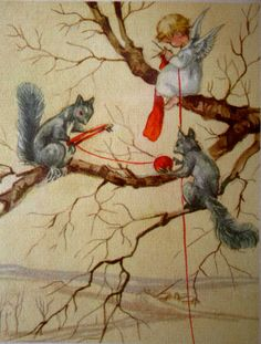 Vintage angel knitting print from Etsy.  Just think if squirrels did this it would keep them off the street and safe from getting run over!!