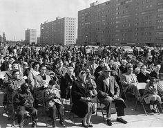 Public opening at Pruitt-Igoe, 1956. Photograph used in The Pruitt-Igoe Myth.