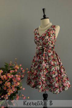 My Lady II - Pink Burgundy Floral Dark Navy Summer Dress Floral Party Dress Floral Bridesmaid Dresses Tea Dress Vintage Design XS-XL