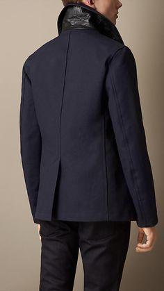 Burberry Brit Leather Detail Bonded Cotton Pea Coat