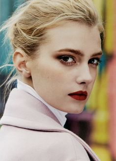 Love this dark red lipstick color for Fall | Sigrid Agren by Matt Jones for i-D Prefall 2013