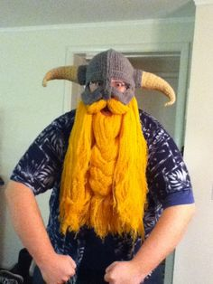 Crocheted Dragonborn helm and beard