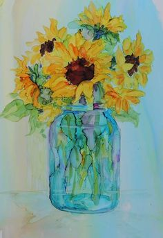 Various Ink Painting: Sunflower in a Glass | Copic