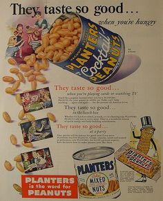 1940s PLANTER'S PEANUTS vintage advertisement by Christian Montone, via Flickr