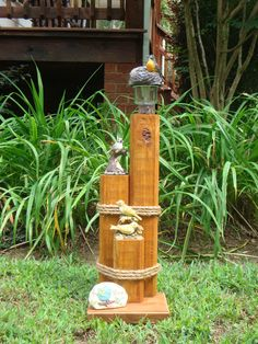 Birdhouse yard art by candkdesigns on etsy for Where to buy solar lights for crafts
