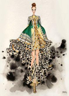 Croquis de Marcas e Estilistas Famosos   A magia da ilustração de Moda - Mary Katrantzou