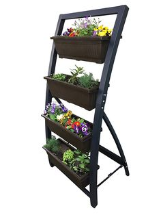 Amazon.com: Outland Living 6-Ft Vertical Garden Freestanding Raised Elevated Bed Planter for Patio Yard Deck Balcony Cascading Water Drainage to Grow Vegetables Herbs Flowers Succulents, with 4 Container Boxes: Garden & Outdoor