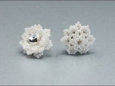 FREE Snowflakes Earrings Tutorial - How to bezel 10mm rivoli - Beading Tutorial by Sidonia - YouTube