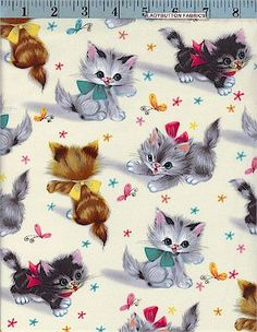 Kitties, Natural, Michael Miller, Cats & Dogs, Ladybutton Fabrics Vintage Wrapping Paper, Vintage Paper, Vintage Fabrics, Vintage Prints, Vintage Cat, Retro Vintage, Wrapping Papers, Vintage Greeting Cards, Vintage Postcards