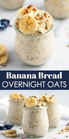 Just like banana bread straight from the oven, but with barely any effort, these Banana Bread Overnight Oats are breakfast you can wake up to--literally, because they are waiting for you in the morning! Food Recipes For Dinner, Food Recipes Deserts Oats Recipes, Gourmet Recipes, Recipes With Bananas, Dinner Recipes, Rice Recipes, Chicken Recipes, Snack Recipes, Dessert Recipes, Cooking Recipes