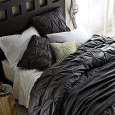 Organic Cotton Pintuck Duvet in Slate from West Elm