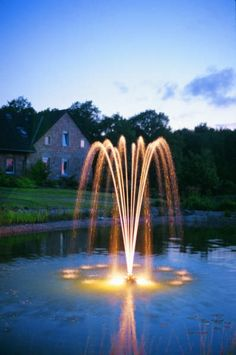 Floating Pond fountain by Oase. PondJet fountain with gallon per hour pump, fountain float and cable. Francisco Gabilondo Soler, Farm Pond, Garden Pond, Water Garden, Fountain Lights, Fountain Ideas, Pond Pumps, Pond Fountains, Small Ponds