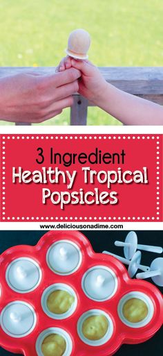 3 Ingredient Healthy Tropical Popsicles are easy to make in just a few minutes and make the cutest little popsicles in the best popsicle mold for toddlers that I've ever found!