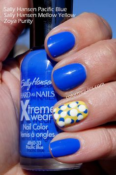 My Milwaukee Brewers Opening Day Manicure (Sally Hansen Pacific Blue and Mellow Yellow, and Zoya Purity) - www.colormejules.com