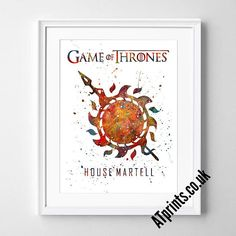 GAME OF THRONES  House Martel Watercolor Poster Print