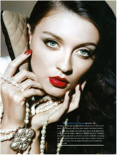 Irina Gorban's beautiful ivory skin really makes her red lips pop! For Heren May 2012