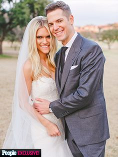 Lauren Scruggs in a strapless @romonakeveza gown posing with her new hubby Jason Kennedy in a Tom Ford suit.