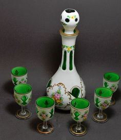 $139.99. Czech Bohemian White Cut to Clear Decanter and 6 Glasses | eBay