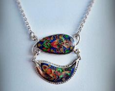 collar de plata cloisonn vintage
