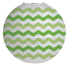 "12"""" Round Paper Chevron Lantern - Fresh Lime"