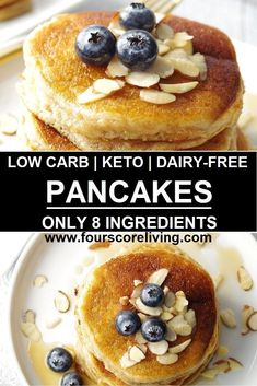 A Low Carb Pancake Mix Recipe that is simple to make, a tried and true Keto Panc. Dairy Free Pancakes, Low Carb Pancakes, Low Carb Breakfast, Fluffy Pancakes, Keto Friendly Desserts, Low Carb Desserts, Vegan Keto, Paleo, Dairy Free Recipes