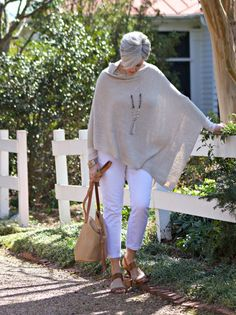 denim JCrew Factory; poncho c/o J.Jill; handbag c/o J.Jill; necklace c/o J.Jill; sandals c/o J.Jill